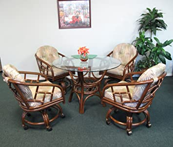 Amazon.com - Made in USA Rattan Chiba Dining Caster Chair Table ...