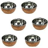 ensemble de 6, accessoires de vaisselle indienne de bol vaisselle de cuivre inox, diamètre 8,5 cm