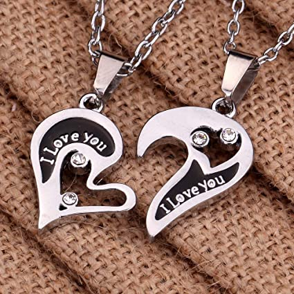 2pcs His and Hers Stainless Steel Necklace I Love You Heart Puzzle Pendant Set
