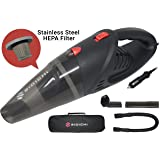 Sidichi car vacuum cleaner - electric 12v 120w portable and powerful handheld valeting hoover kit for car interior & upholstery - 5m cord - Stainless Steel HEPA filter - 4500pa strong suction - wet/dry use