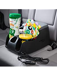 Rubbermaid 3375-00 Automotive Portable Console Organizer Caddy with Dual USB Charging Ports and Cup Holders