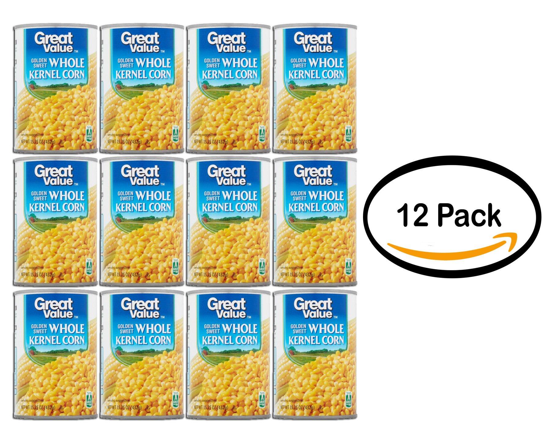PACK OF 12 - Great Value Golden Sweet Whole Kernel Corn, 15.25 oz