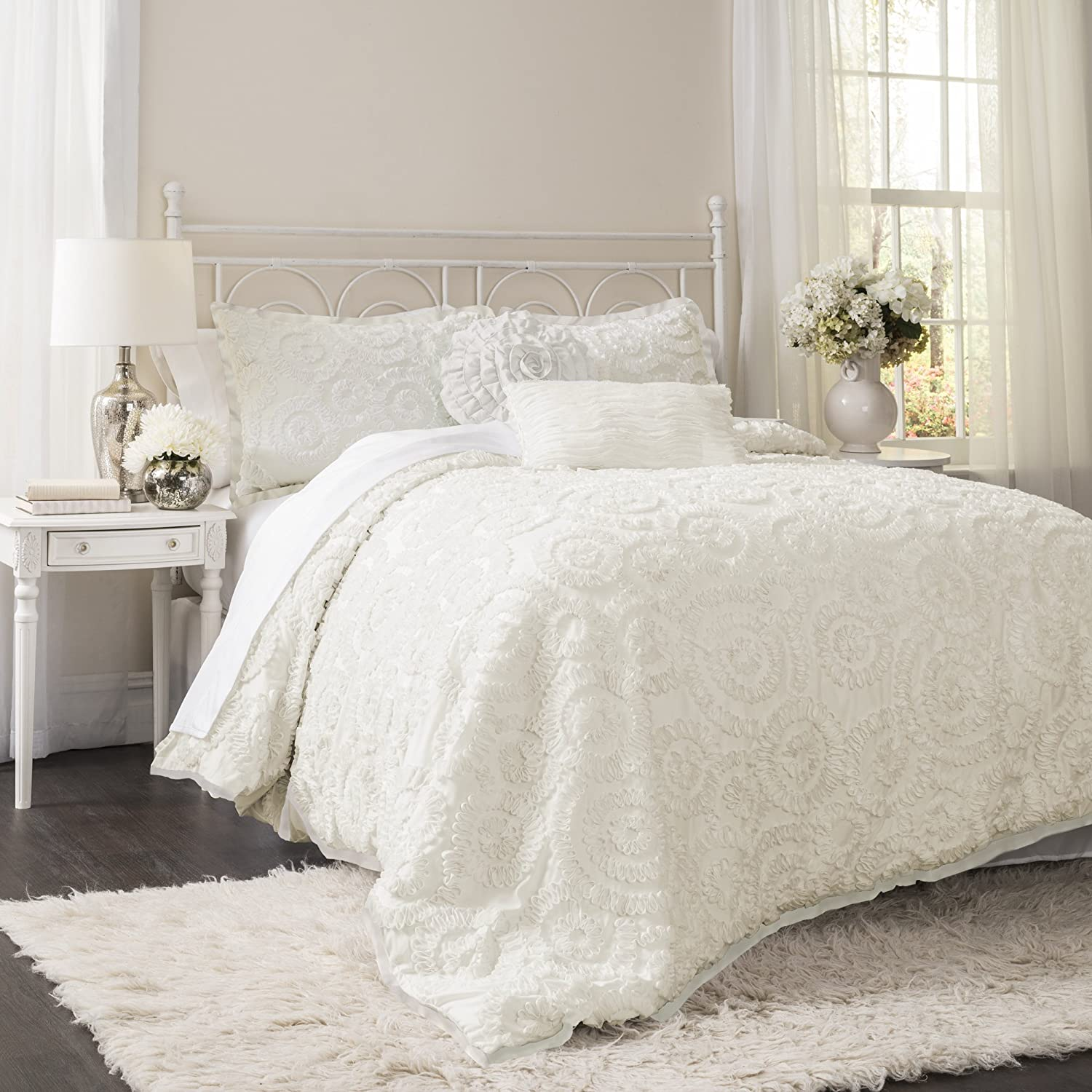 fontana ivory p bedding ruched set comforter
