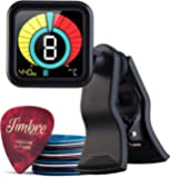 TimbreGear Chromatic Clip-On Tuner Guitar Tuner For - Acoustic Guitar, Electric Guitar, Bass Guitar, Ukulele, Violin, Premium Picks Sampler 20 Pack In Thin, Medium & Heavy Gauges (Pitch Black)