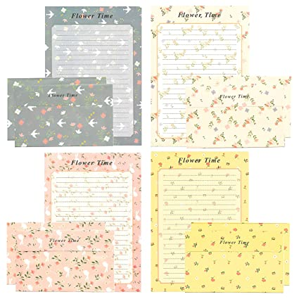 Amazon.: 24 Pcs Lined Kawaii Flower Writing Stationery with 12