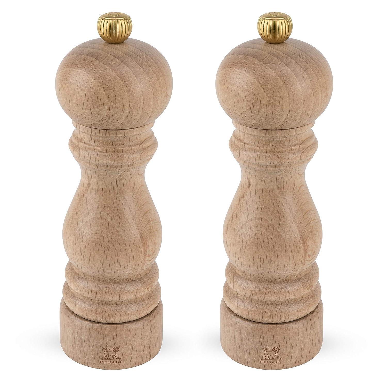5.7x5.7x18 cm Wood Natural Peugeot Paris Duo uselect Salt /& Pepper Mill Set 18cm