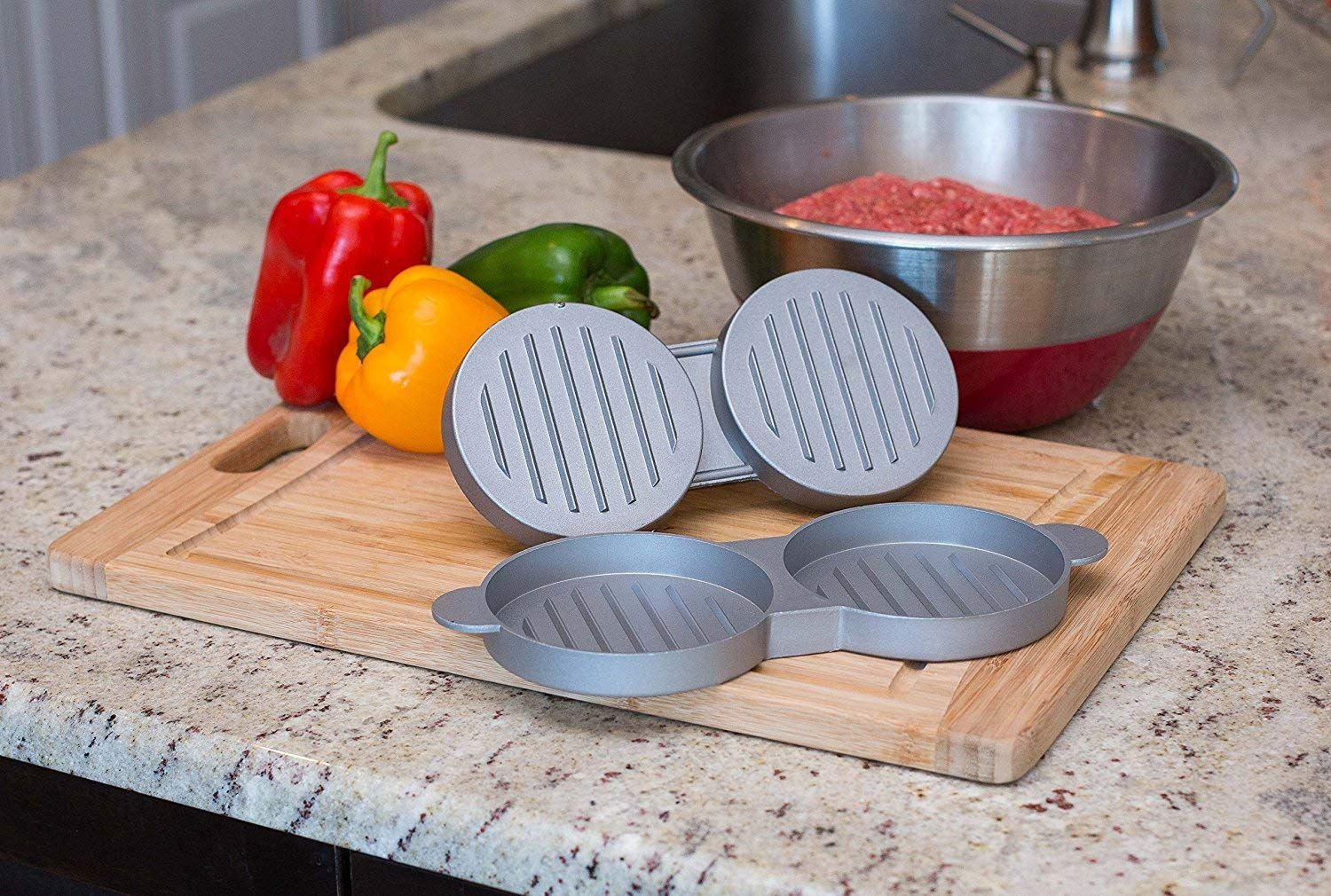 CLSstar Best Double Burger News on The Internet,Heavy Duty Non-Stick Burger Patty Manufacturer Perfect Burger Mould Ideal for BBQ Basic Kitchen and BBQ Accessories