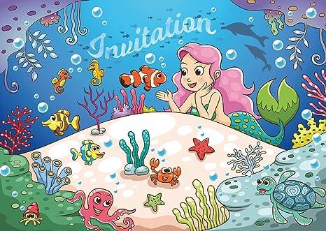 Edition Colibri Lot De 10 Cartes D Invitation La Petite Sirene En