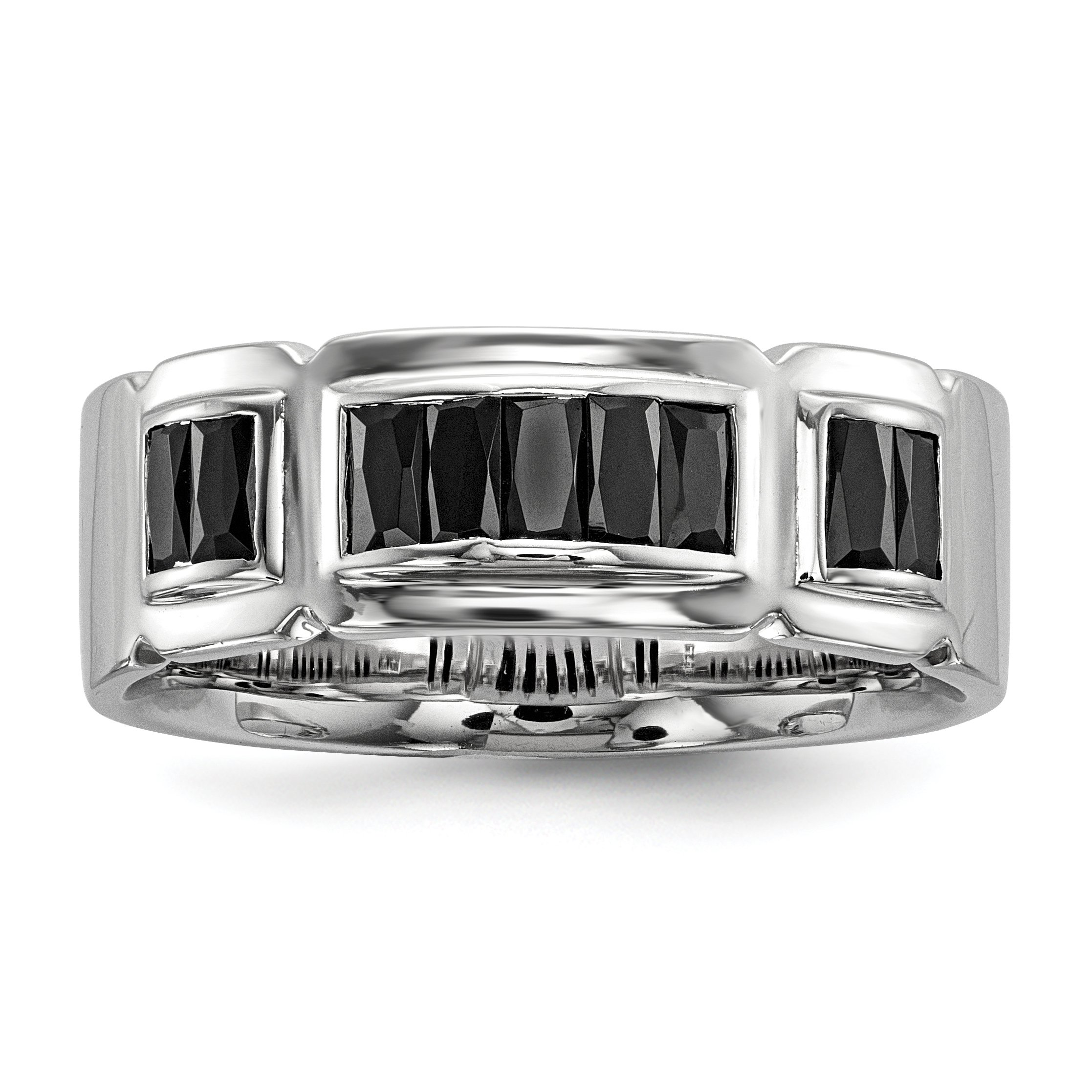 ICE CARATS 925 Sterling Silver Black Cubic Zirconia Cz Grooved Band Ring Size 9.00 Man Fine Jewelry Gift Set For Women Heart