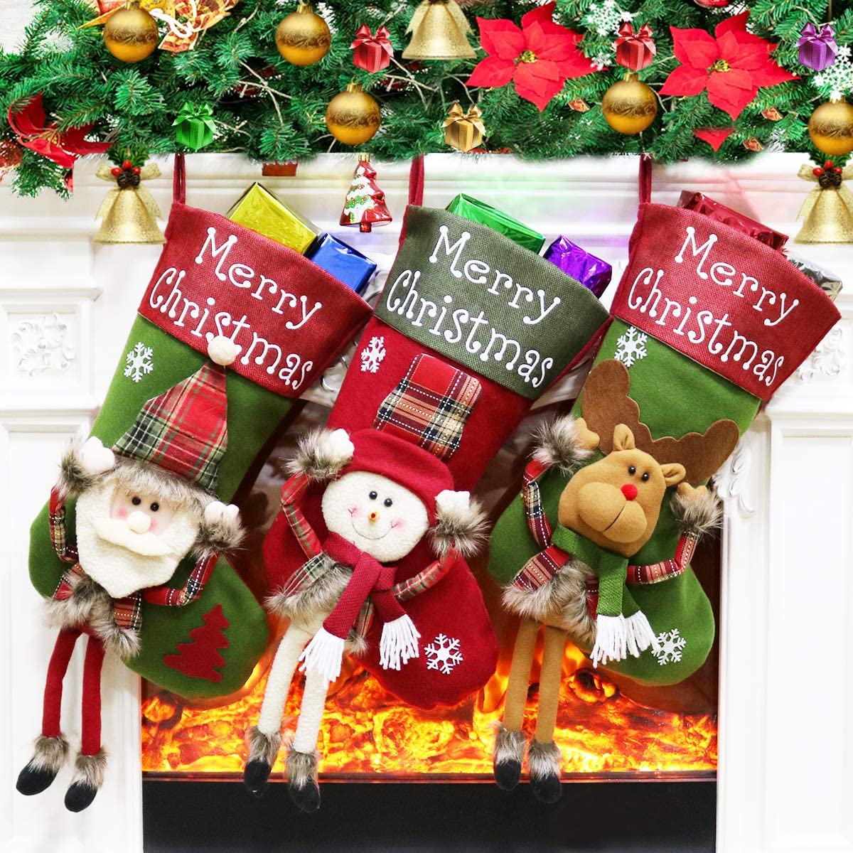 "Dreampark Christmas Stockings, Big Xmas Stockings Decoration - 18"" Santa Snowman Reindeer Stocking for Home Decor Set of 3"