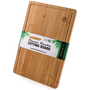 Extra Large Bamboo Cutting Board with Handles, Juice Grooves. Free Non-slip Grips. Wooden Cutting Boards for Kitchen. Thick Wood Chopping Board. Cheese Serving Tray, Meat Carving Board- 18x12 inches