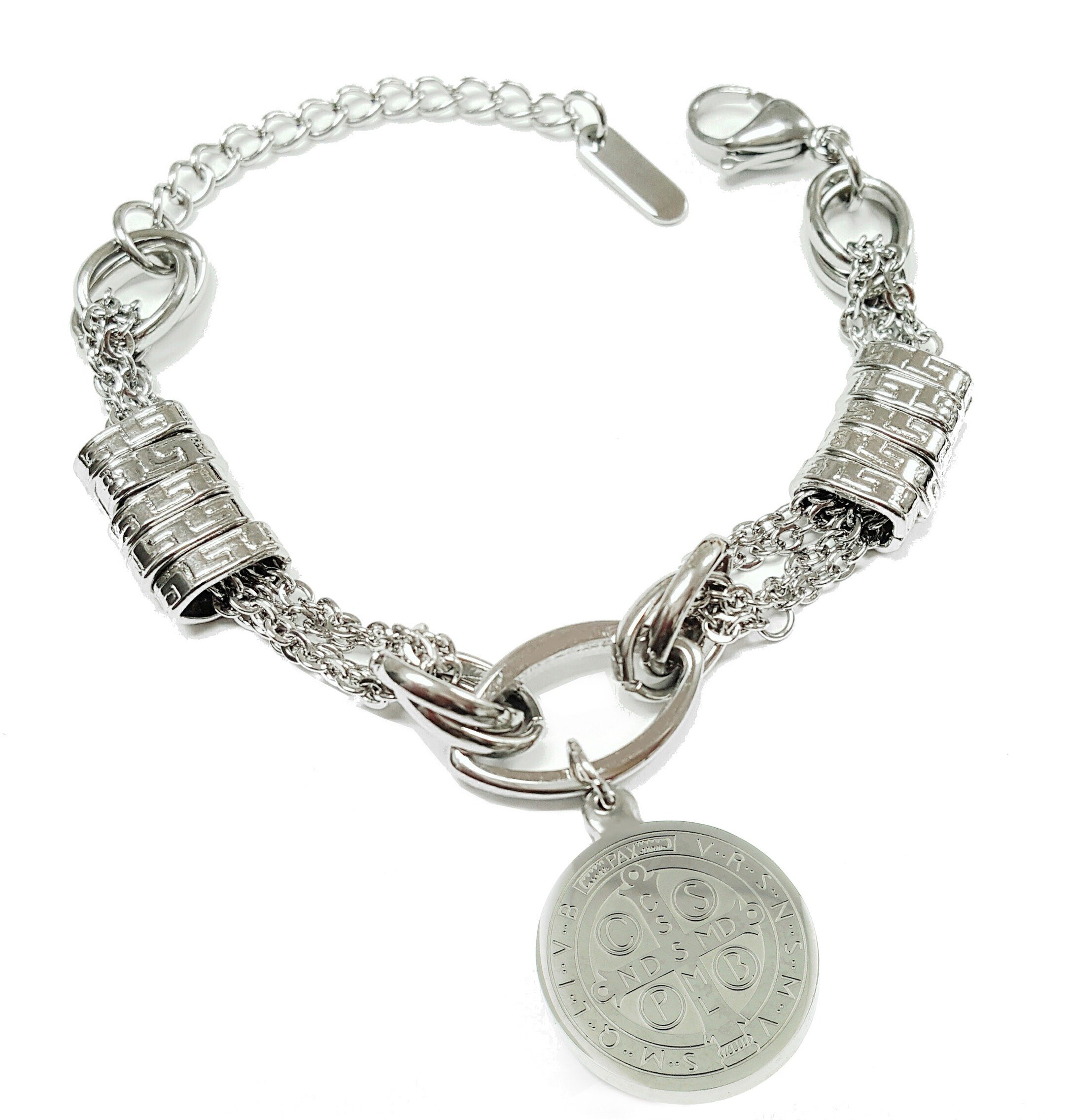 Catholic - Stainless Steel In Style Saint Benedict Bracelet - San Benedicto