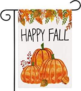 Dsweesun Happy Fall Garden Flag 12 x 18 Double Sided, Harvest Pumpkin Patch Flag, Rustic Farmhouse Autumn Thanksgiving ?Front Porch Yard Outdoor Décor
