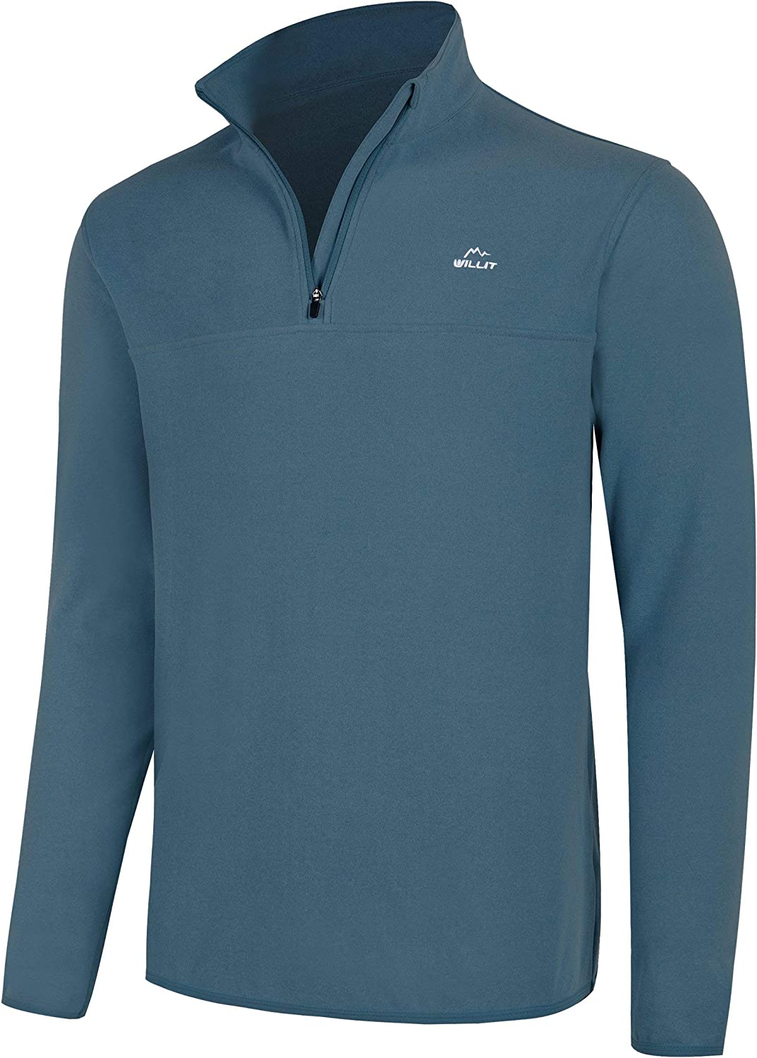 Willit Men's Fleece Golf Pullover Sweaters Quarter-Zip Hiking 1/4 Zip Thermal Jacket Lightweight: Clothing
