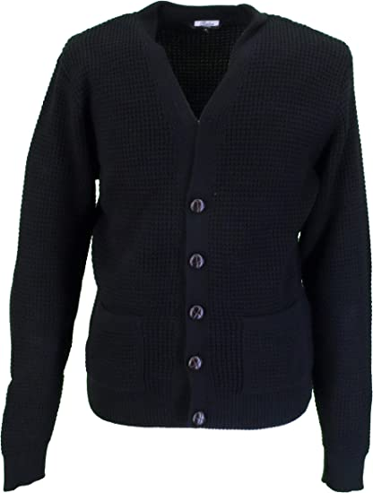 Men/'s Waffle Knit Black Yellow Burgundy Blue Button Front Retro 60/'s Cardigan