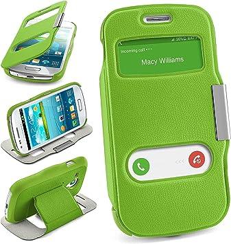 Bolso OneFlow para Funda Samsung Galaxy S3 Mini Cubierta con Ventana | Estuche Flip Case Funda móvil Plegable | Bolso móvil Funda Protectora Accesorios móvil protección paragolpes en Lime-Green: Amazon.es: Electrónica