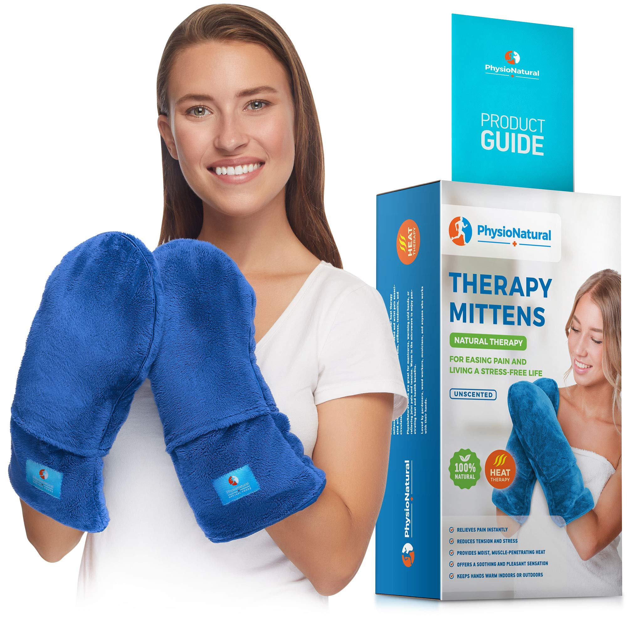 Microwavable Therapy Mittens with Flaxseed - Moist Heat Therapy Relief for Hands and Fingers in Cases of Stiff Joints, Trigger Finger, Inflammation, Raynaud's, Carpal Tunnel - Natural Unscented Gloves by PhysioNatural
