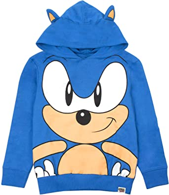 Amazon Com Sonic The Hedgehog Character 3d Ears Boy S Kids Blue Hoodie Clothing