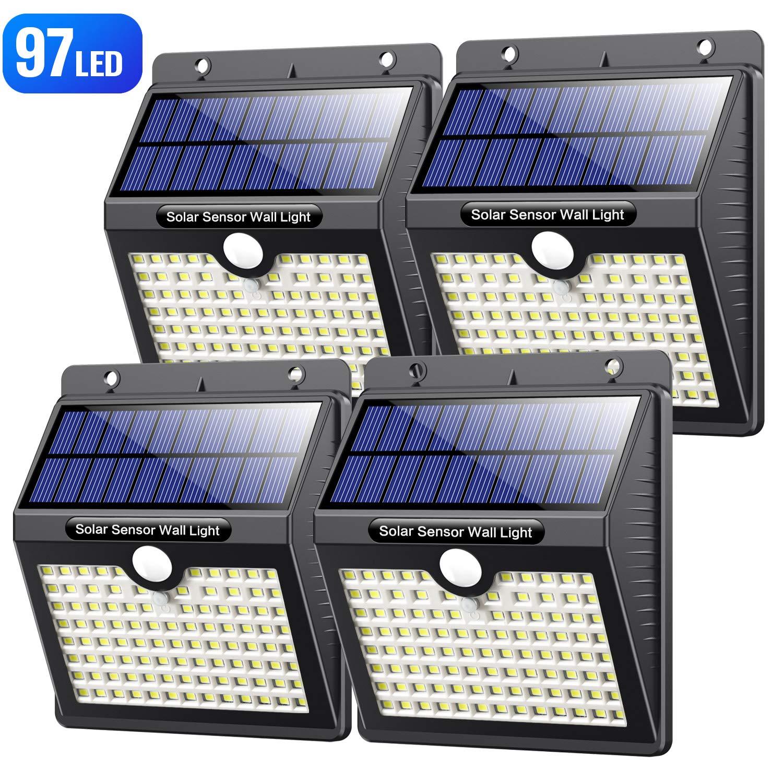 Luz Solar Exterior, VOOE [Versión Alta Calidad] 97 LED Foco Solar con Sensor de Movimiento Iluminación Luces Solares Impermeable Lámpara Solar para Exteriores 3 Modos para Jardín (4 Paquete) product image