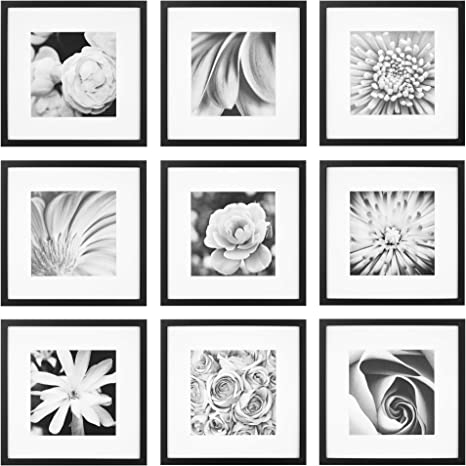 Gallery Perfect Gallery Wall Kit Square Photos With Hanging Template Picture Frame Set 12 X 12 Black 9 Piece
