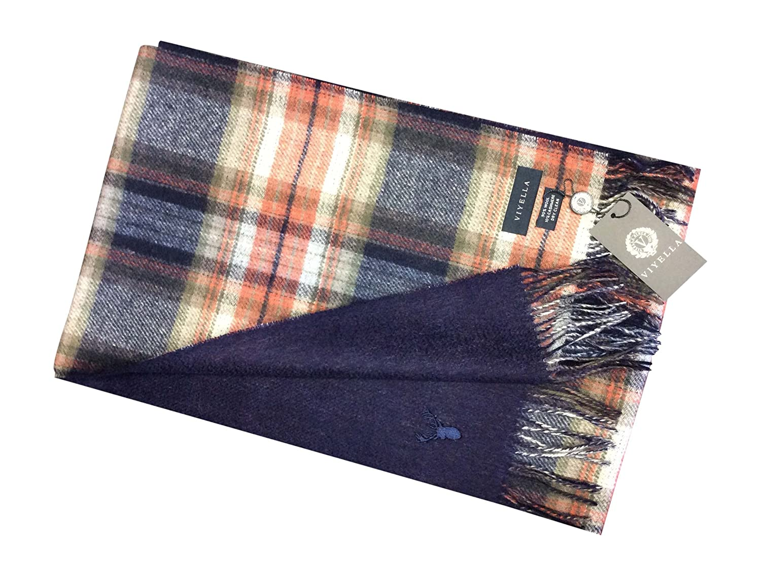 Men's Viyella Ultimate Luxury Wool Cashmere Scarf Tartan 228 Loden Green MWVWS_0006