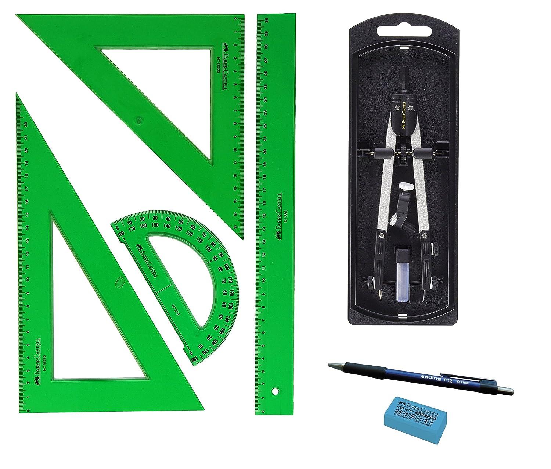Kit Faber Castell - Set di strumenti da disegno verdi, 65021, Squadra, squadretta, righello e goniometro + compasso con adattatore universale, 32722-8+ regalo 32722-8+ regalo