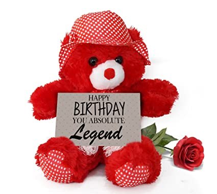 TIED RIBBONS Teddy Bear With Artificial Rose And Greeting Card