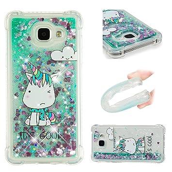 Funluna Funda Samsung Galaxy A3 2016, Carcasa Glitter Líquido 3D Bling Silicona Flowing Brillar Sparkle Cristal Choque Absorción Cubierta para Samsung ...