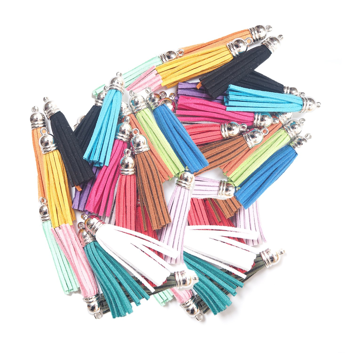 Cellphone Straps and DIY Accessories Vfond 100 Pieces 55 mm Leather Suede Tassel with Caps for Jewelry Making Findings