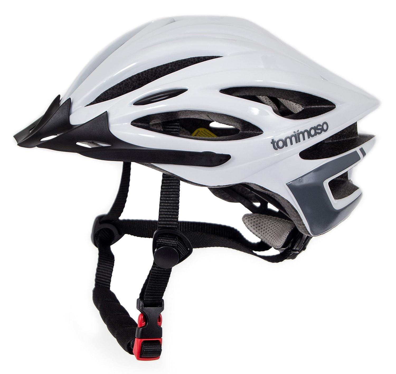 Tommaso Ombra軽量サイクリングヘルメットリムーバブルバイザーロード&MTBバイク調整可能フィット4色ブラック、マットブラック、ホワイト、チタン認定安全保護 - グロスホワイト - M/L   B074PY1YM3