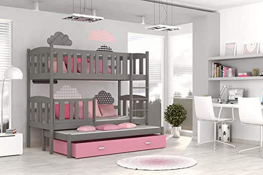 Etagenbett Quba 3 : Etagenbett hochbett jakob farbe grau rosa mit einer