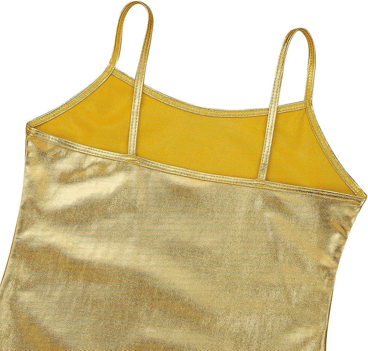 YONGHS Kids Girls Gymnastic Cami Tops Spaghetti Shoulder Straps Active Workout Sports Tank Top Dancewear