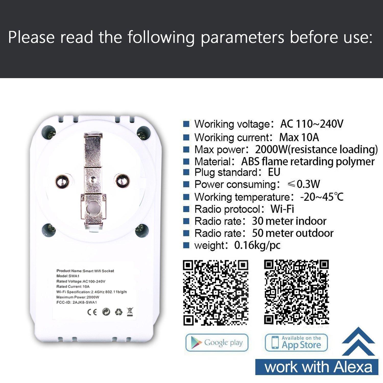 Prises Wifi Intelligente Prises Connect/ées Compatible avec Android iOS Alexa Prises T/él/écommand/ées Prise Courant Intelligente Prise de Courant Mise en Veille Programmable Smart