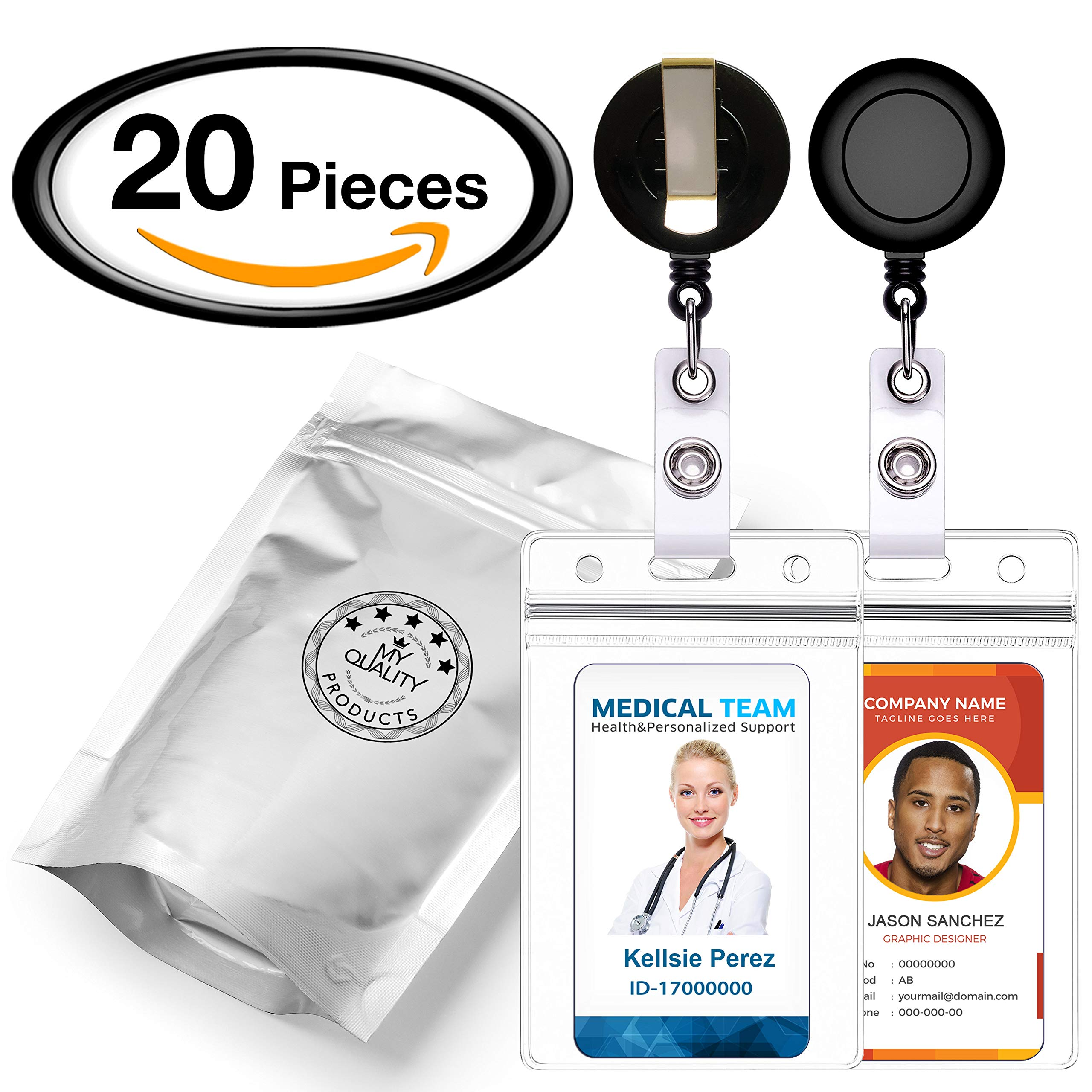 Retractable Reel ID Badge Card Holder + Double Sided Vertical Clear Vinyl ID Pass Holder Bulk Kit. 30-inch Nylon Badge Reel Cord, Metal Belt Clip, and Heavy Duty Plastic Name Badge Holder, Pack of 20