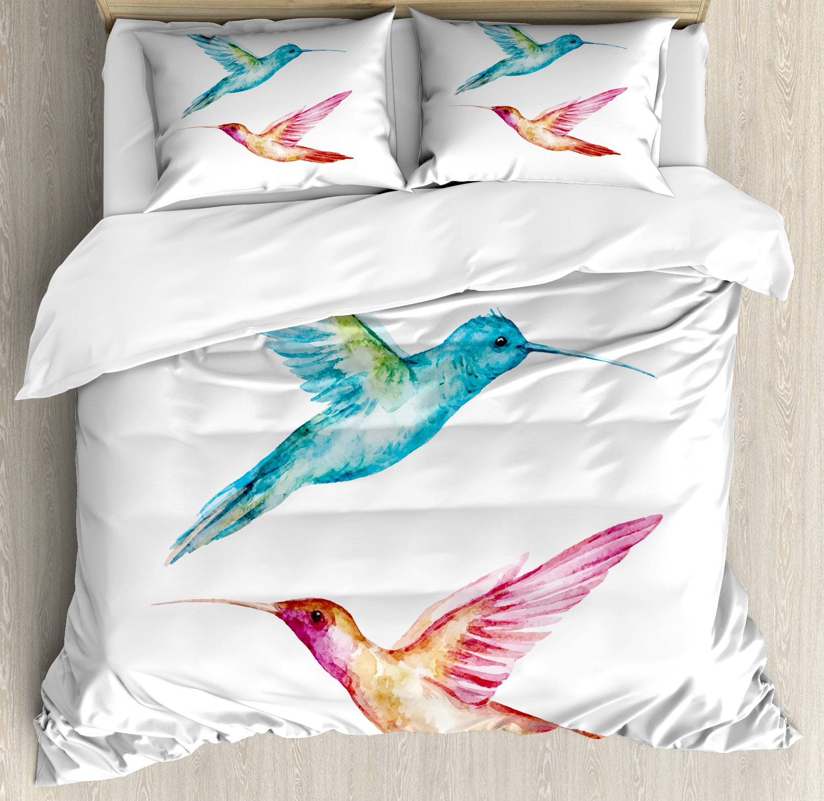 Watercolor Queen Size Duvet Cover Set by Ambesonne, Colorful Aquerelle Hummingbirds with Brush Marks Effect Avian Animal Design, Decorative 3 Piece Bedding Set with 2 Pillow Shams, Multicolor