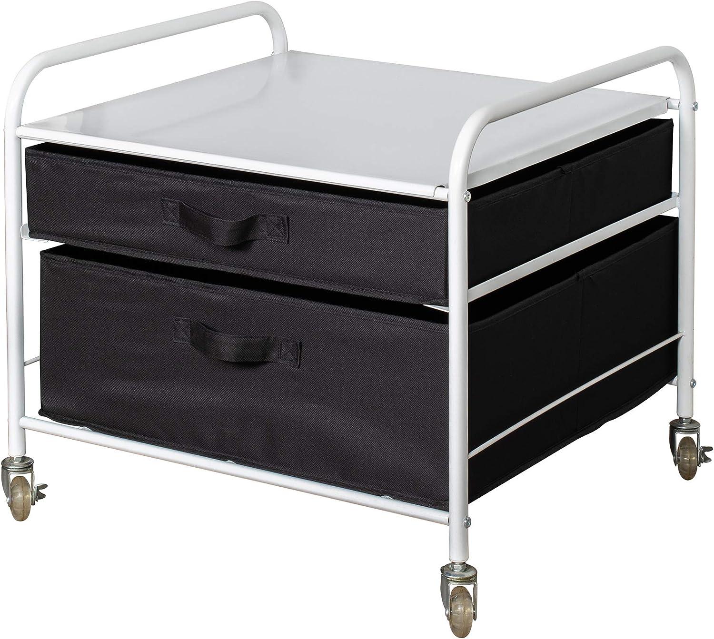 The Fridge Stand Supreme - Drawer Organization - White Frame with Black Drawers