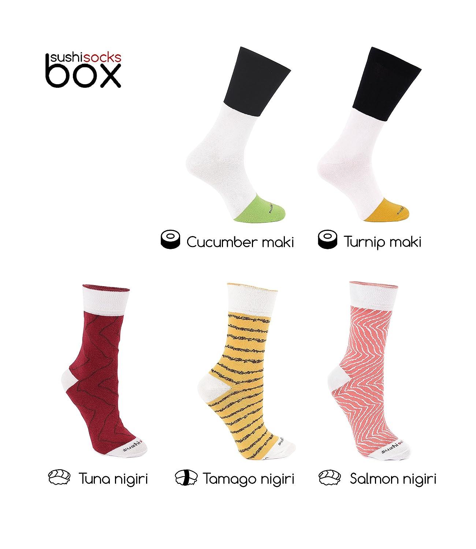 c1d3633da4 Amazon.com: SUSHI SOCKS BOX 5 pairs Salmon Tamago Tuna Maki FUNNY GIFT!  Made in Europe: Clothing