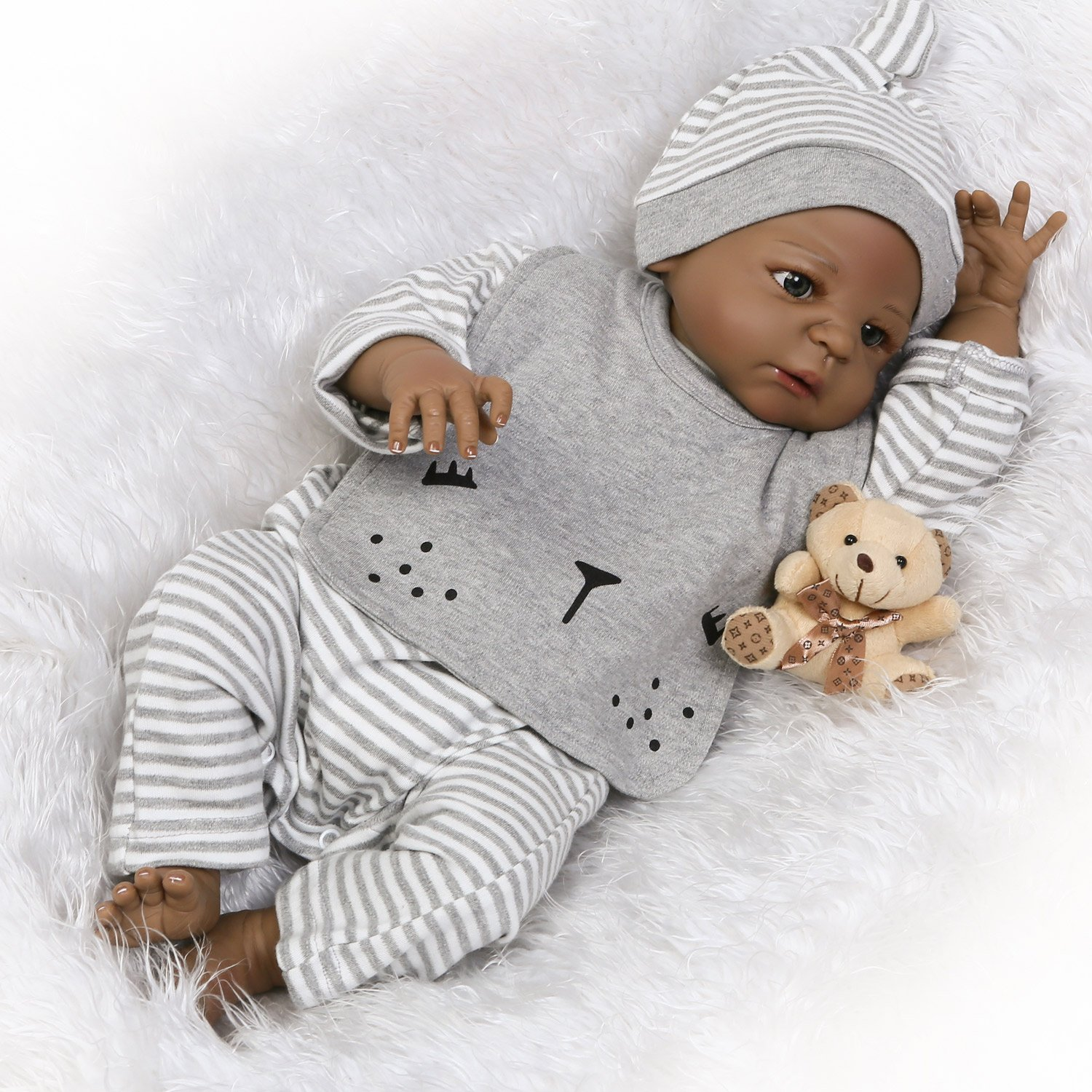 Pursue baby cute washable hard vinyl full body real life black baby doll african american henry 22 inch realistic newborn baby boy doll with pacifier
