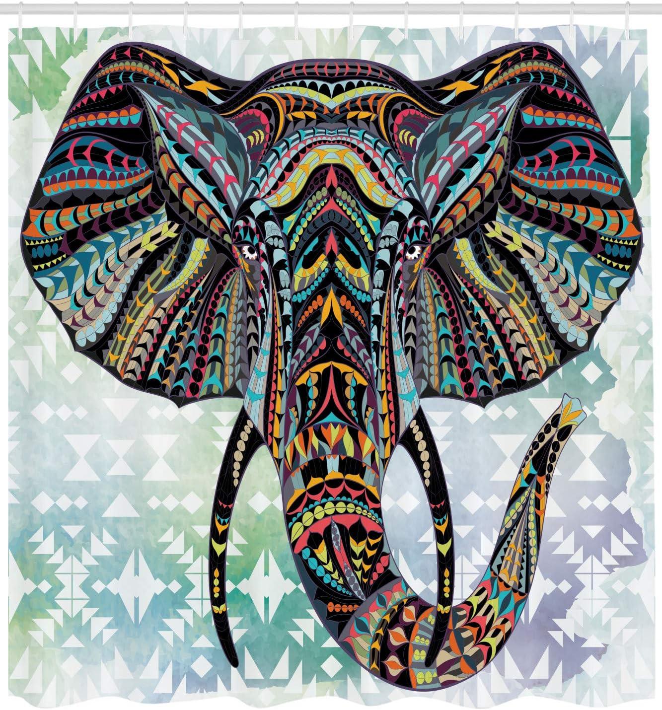 ABAKUHAUS Elefante Cortina de Baño, Figuras de Animales Nursery ...