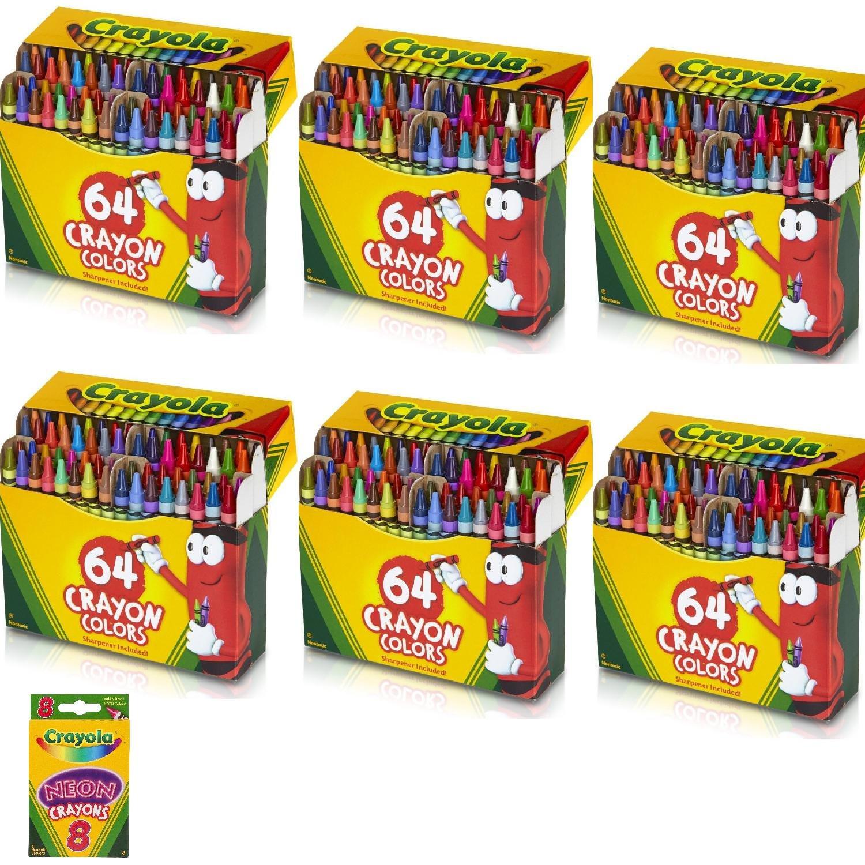 Crayola 6 PACK 64 Ct Crayons (52-0064) Bundle with 8 Count Neon Crayons