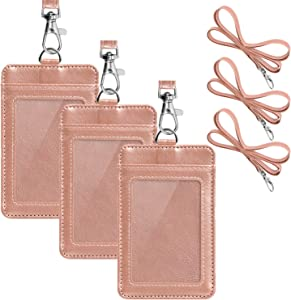 【2020 New】3 Pack PU Leather ID Badge Holder, Life-Mate ID Badge Holder with 1 Clear ID Window 1 Credit Card Slot and PU Leather Lanyard for Badge Credit Cards College ID Cards in Rose Gold