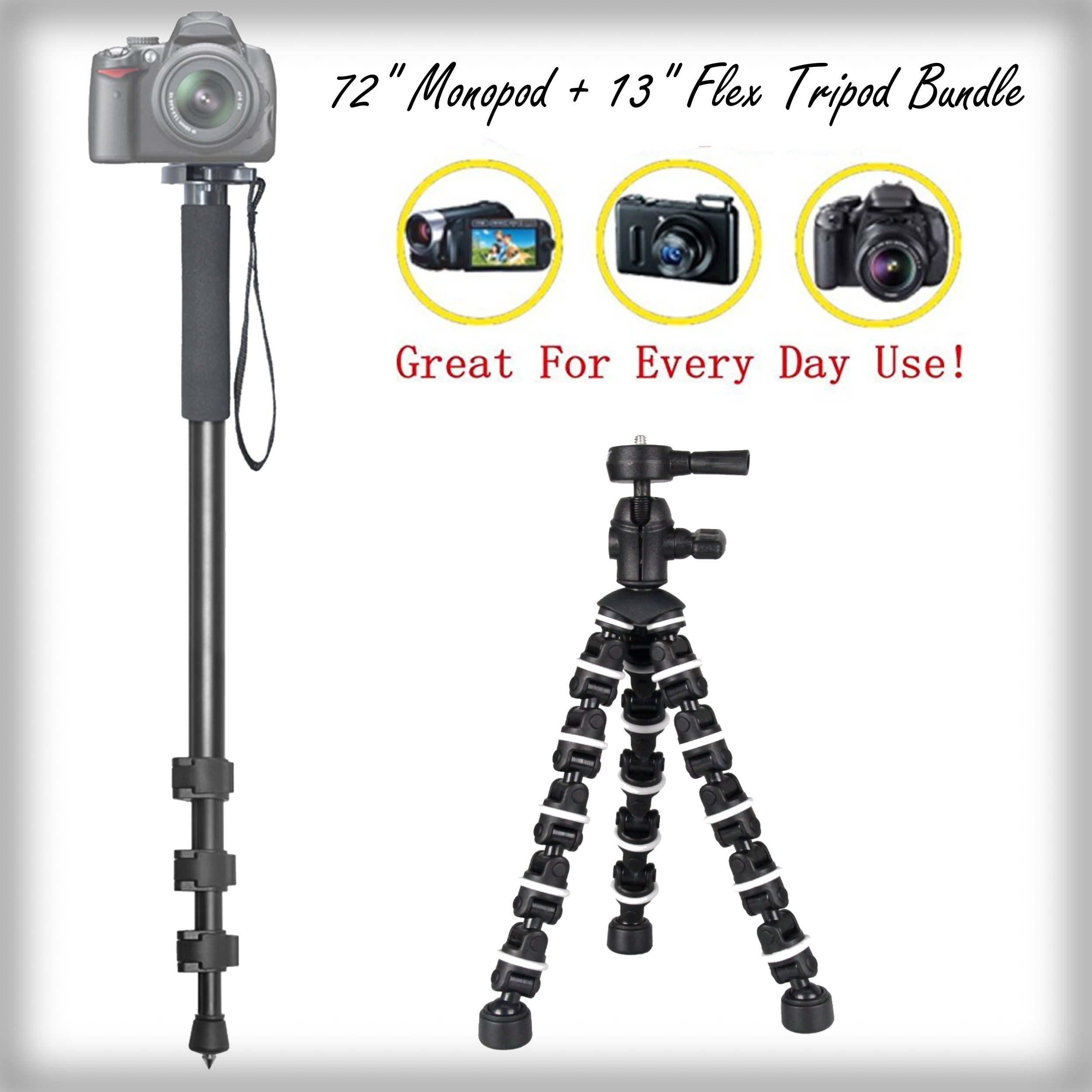 Versatile Full Sized 72'' Monopod + 13'' Rugged Flexible Tripod Bundle for Canon EOS Rebel T6i (EOS 750D / Kiss X8i) - Portable Tripod, Flexible Legs Camera Support