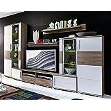 AVANTI TRENDSTORE - Parete da soggiorno bianca in quercia d'imitazione, ca. 296x198x50cm