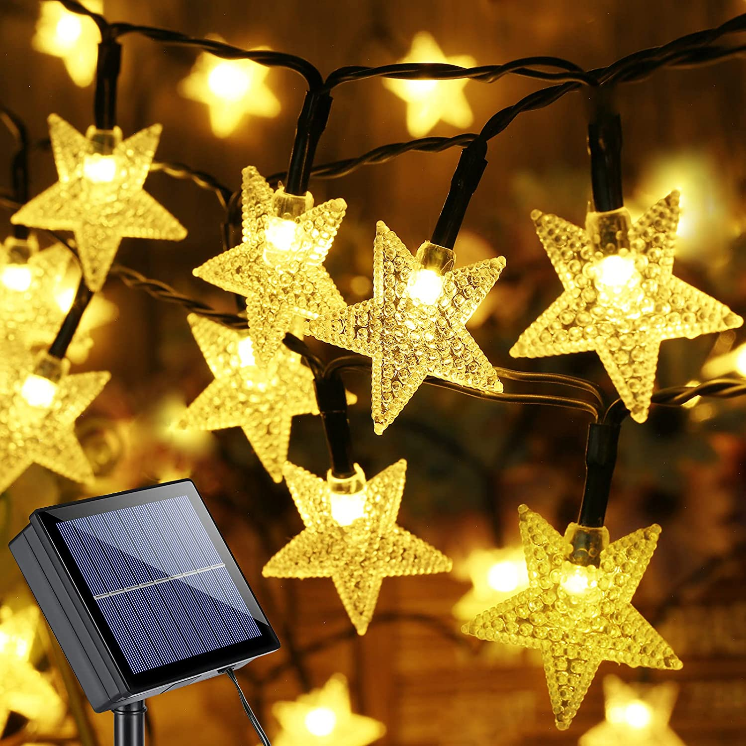 Brizled Star Solar String Lights, 39ft 100 LED Solar Lights Outdoor, 8 Modes Star Twinkle Light Waterproof Solar Light String with Memory for Balcony Party Patio Garden Yard & Home Decor, Warm White