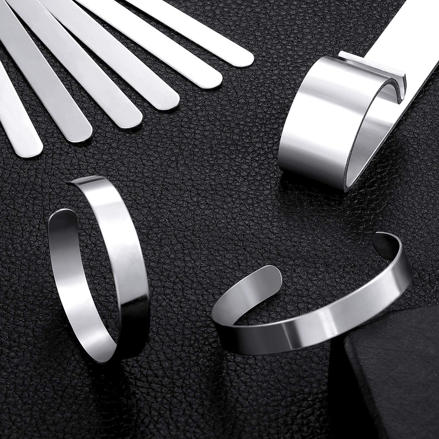 8 Pieces Bracelet Blanks Stainless Steel Blank Bracelet Cuff Bangle Bracelet and Bracelet Bending Bar Jewelry Tool for Stamping and DIY Bracelet Jewelry Making