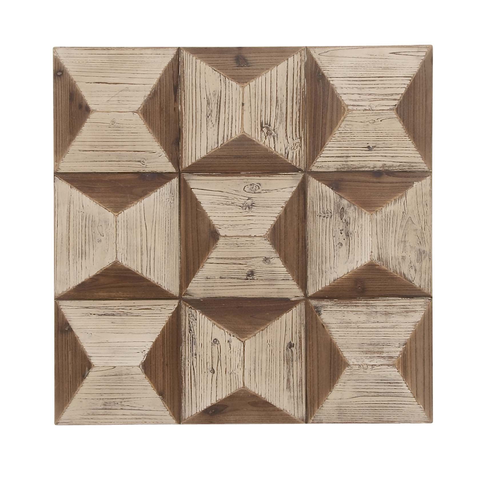 Deco 79 98733 Square Wooden Wall Panel, 30'' x 30'', Brown/White