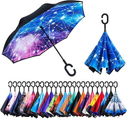 Sailing Ship Wave And An Anchor Reverse Umbrella Double Layer Inverted Umbrellas For Car Rain Outdoor With C-Shaped Handle Personalized