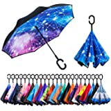 Newsight Reverse Umbrella, Double Layer Inverted Umbrella Upside Down, Self Stand, C Shape Handle, Inverse Inside Out…