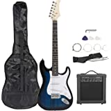 """Smartxchoices 39"""" Electric Guitar Full Size Blue Beginner Guitar with 10W Amp, Case and Accessories Pack for Starter"""