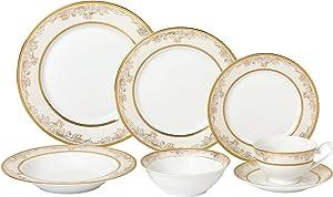 Lorren Home Trends 28 Piece 'Chloe' Bone China Dinnerware Set (Service for 4 People), Gold